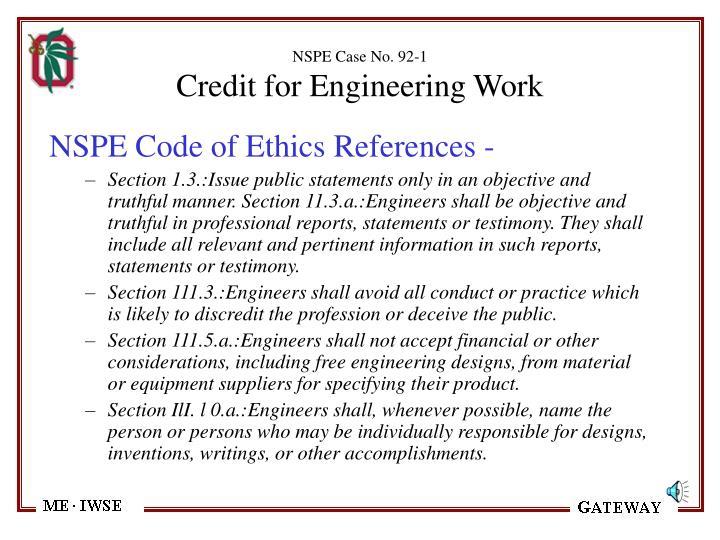 NSPE Case No. 92-1