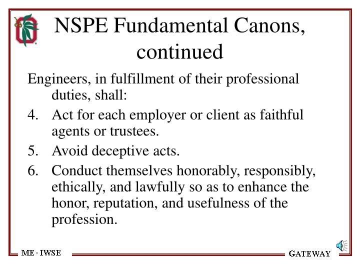 NSPE Fundamental Canons, continued