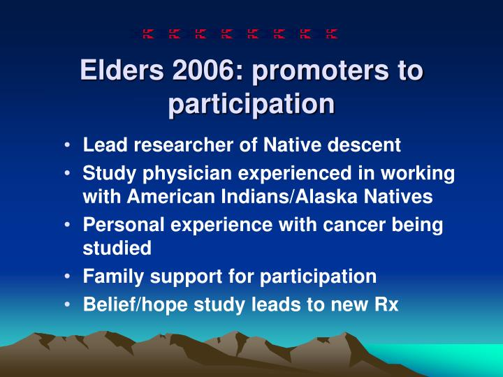 Elders 2006: promoters to participation