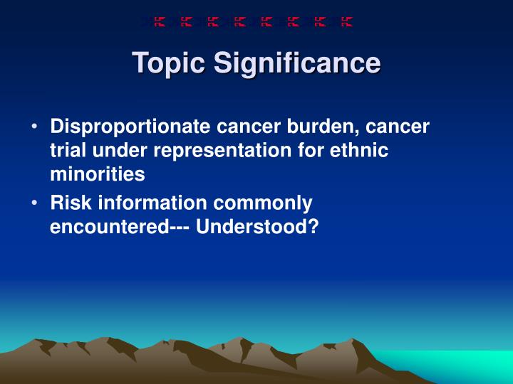 Topic significance