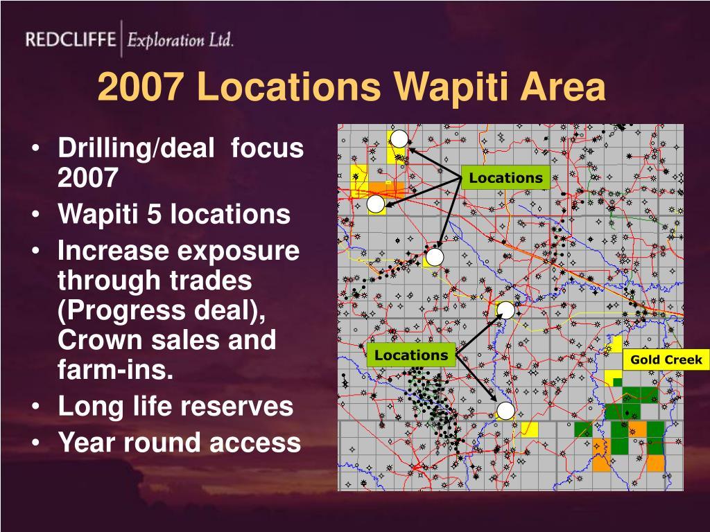 2007 Locations Wapiti Area