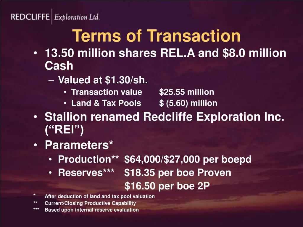 Terms of Transaction