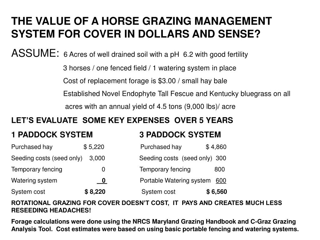 THE VALUE OF A HORSE GRAZING MANAGEMENT SYSTEM FOR COVER IN DOLLARS AND SENSE?