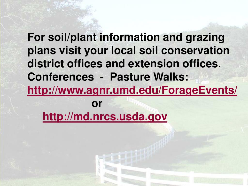 For soil/plant information and grazing plans visit your local soil conservation district offices and extension offices.