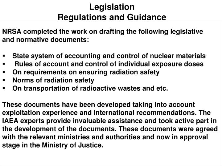 Legislation regulations and guidance