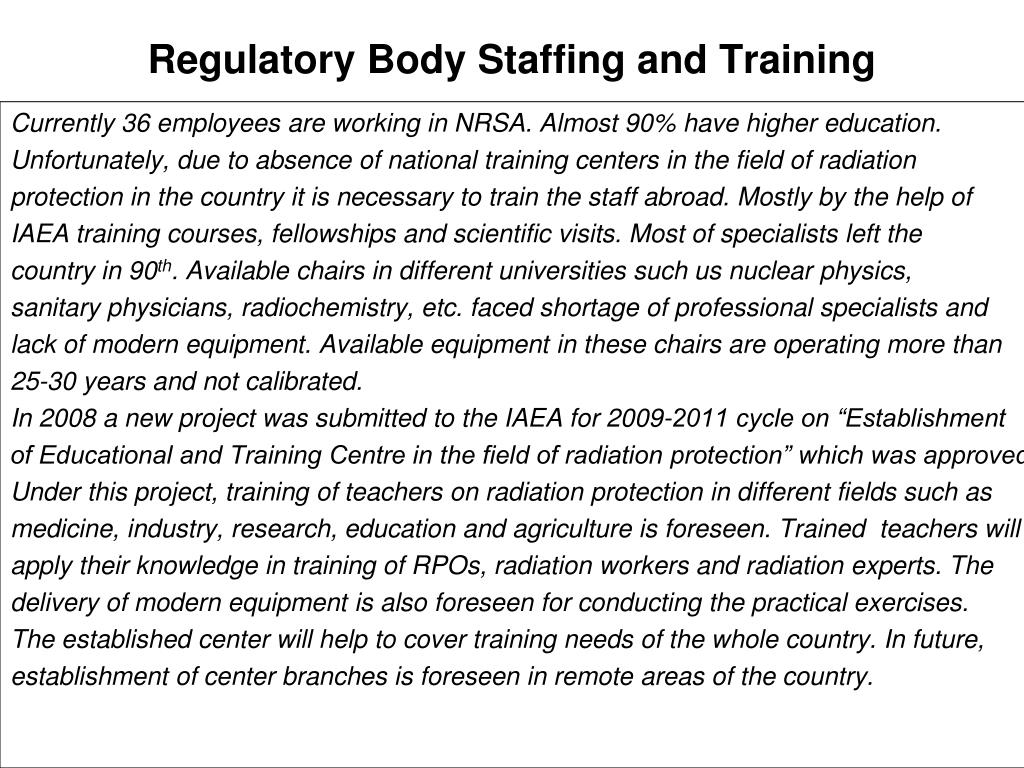 Regulatory Body Staffing and Training
