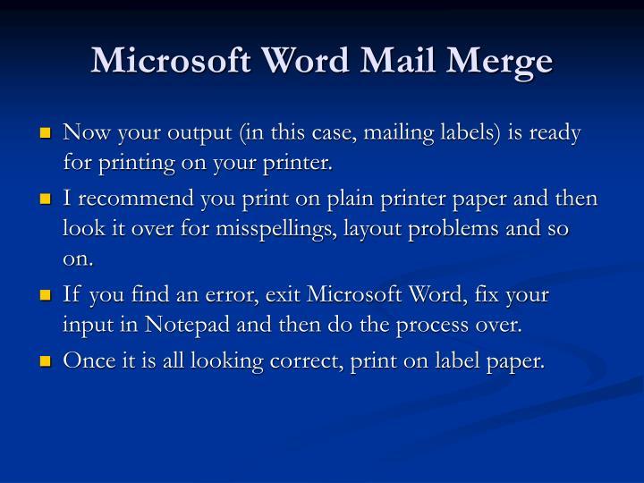 Microsoft Word Mail Merge