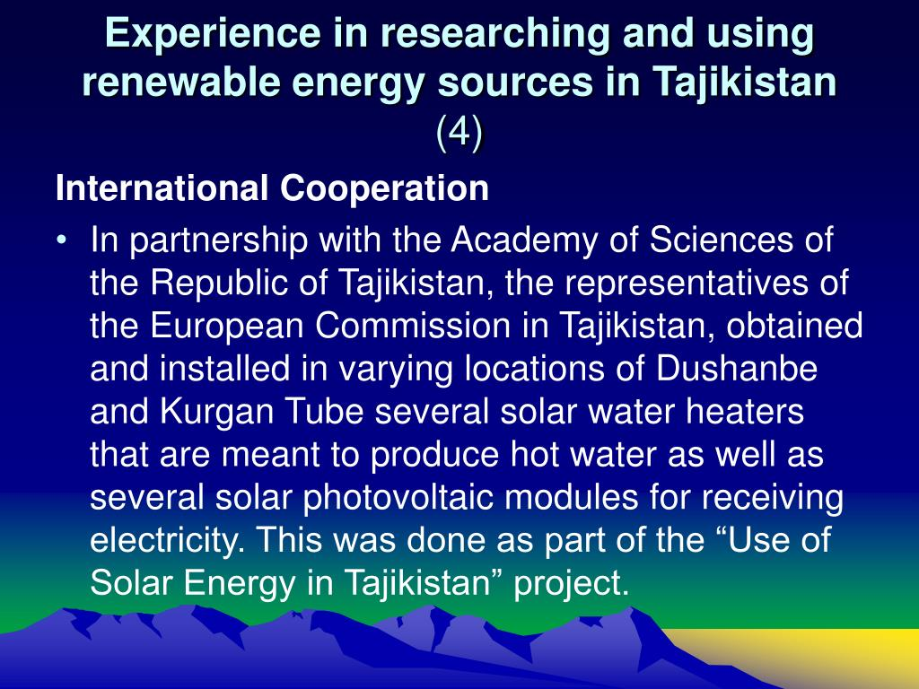 Experience in researching and using renewable energy sources in Tajikistan