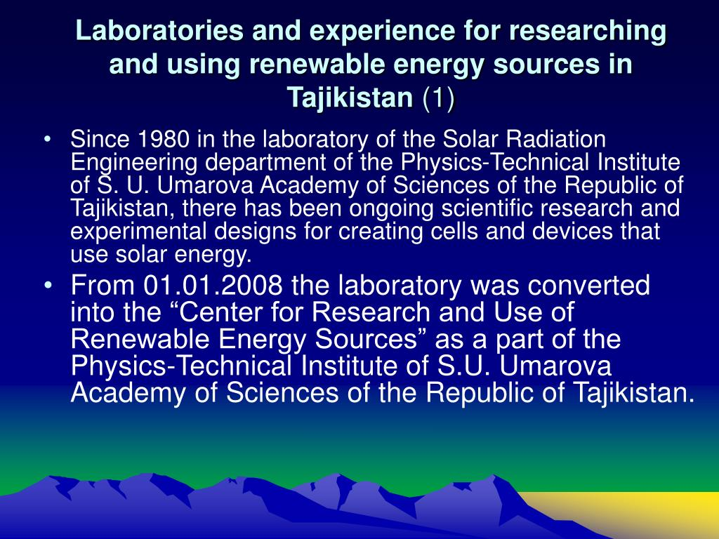 Laboratories and experience for researching and using renewable energy sources in Tajikistan