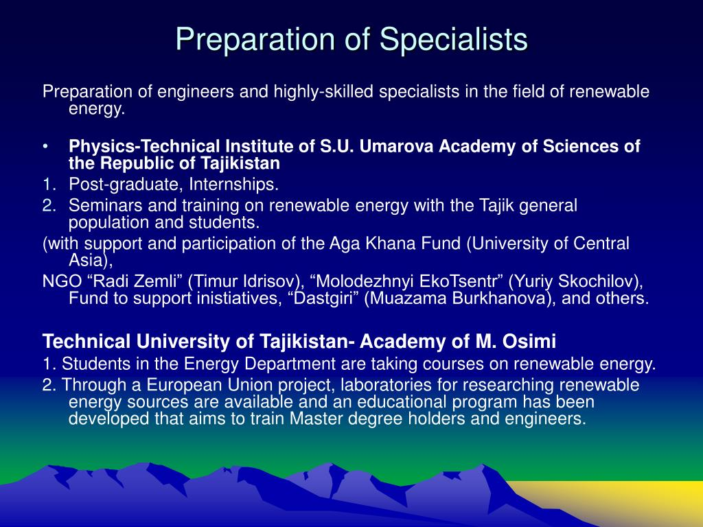 Preparation of Specialists