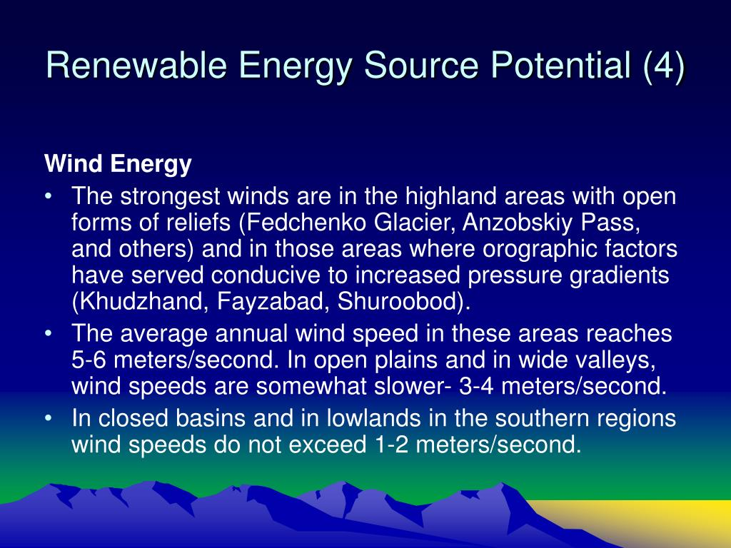 Renewable Energy Source Potential