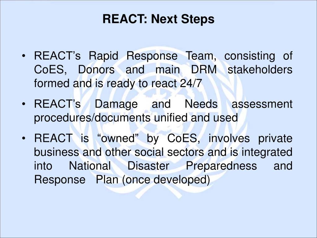 REACT: Next Steps