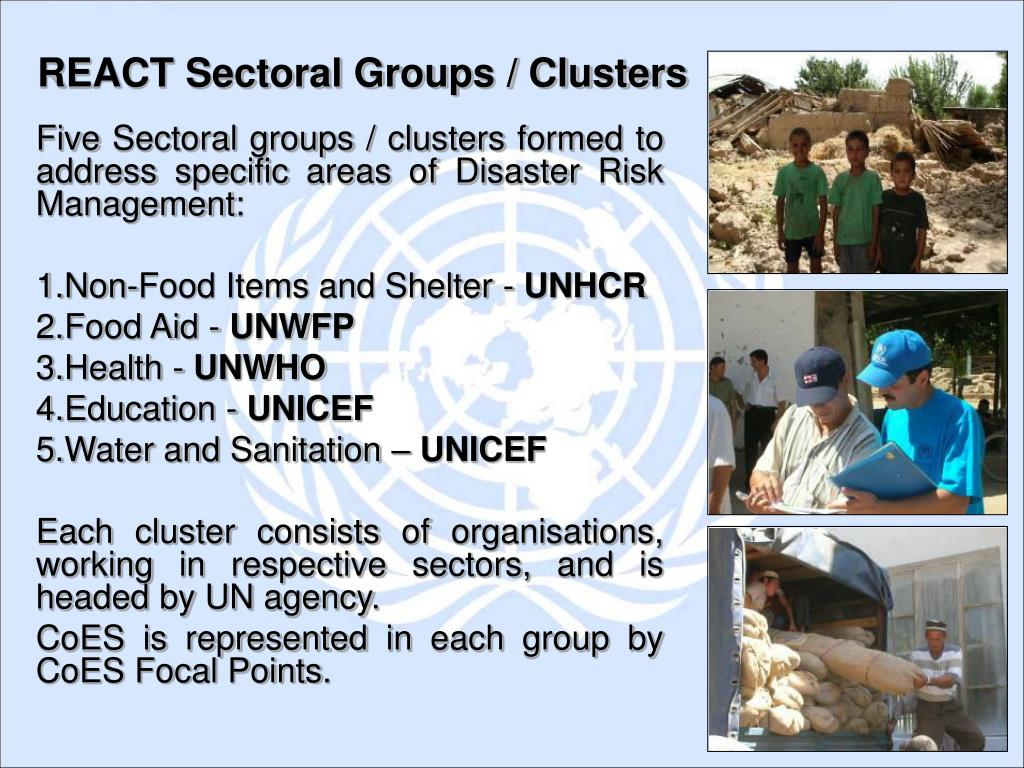Five Sectoral groups / clusters formed to address specific areas of Disaster Risk Management: