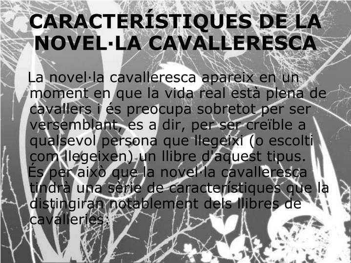 La novel·la cavalleresca apareix en un moment en que la vida real està plena de cavallers i és preocupa sobretot per ser versemblant, es a dir, per ser creïble a qualsevol persona que llegeixi (o escolti com llegeixen) un llibre d'aquest tipus.