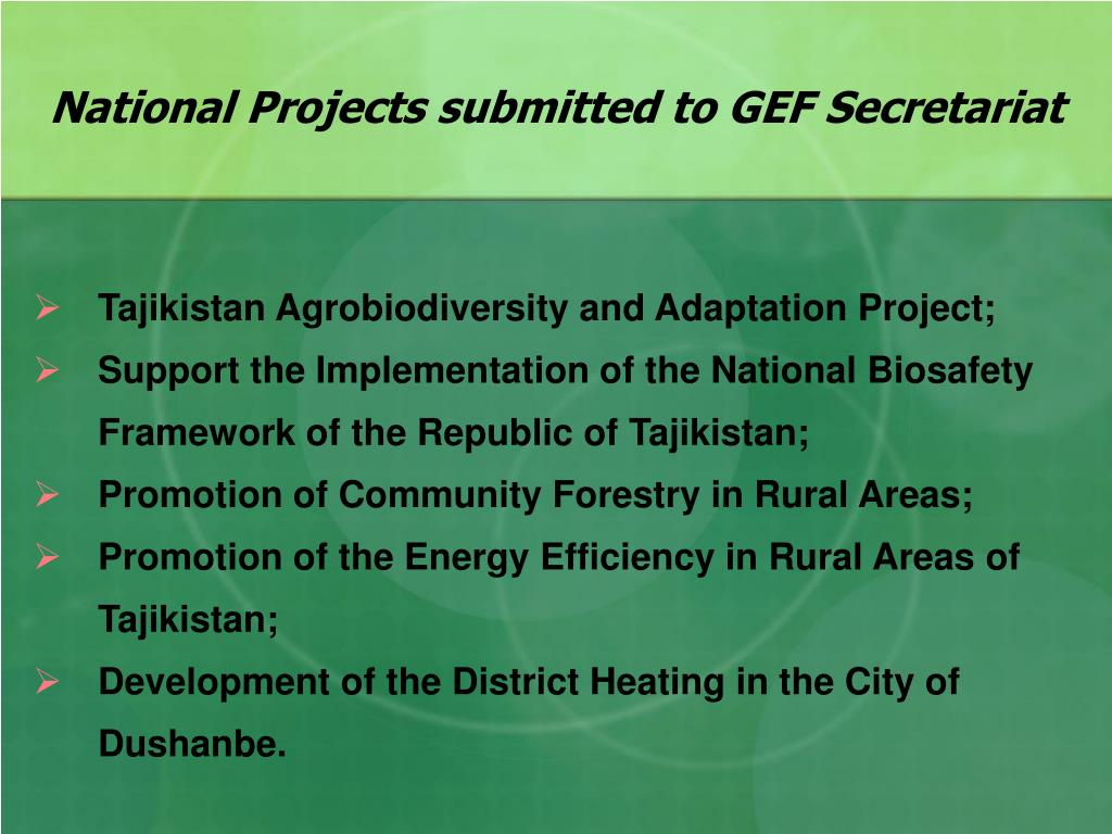 National Projects submitted to GEF Secretariat