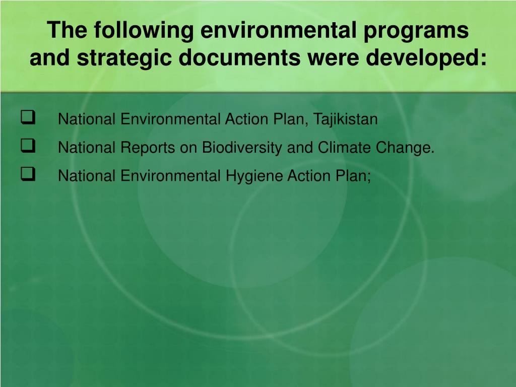 The following environmental programs