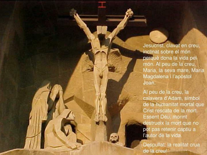 Jesucrist, clavat en creu, inclinat sobre el món perquè dona la vida pel món. Al peu de la creu, Maria, la seva mare, Maria Magdalena i l'apòstol Joan.