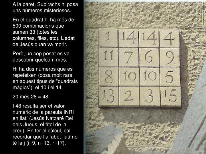 A la paret, Subirachs hi posa uns números misteriosos.
