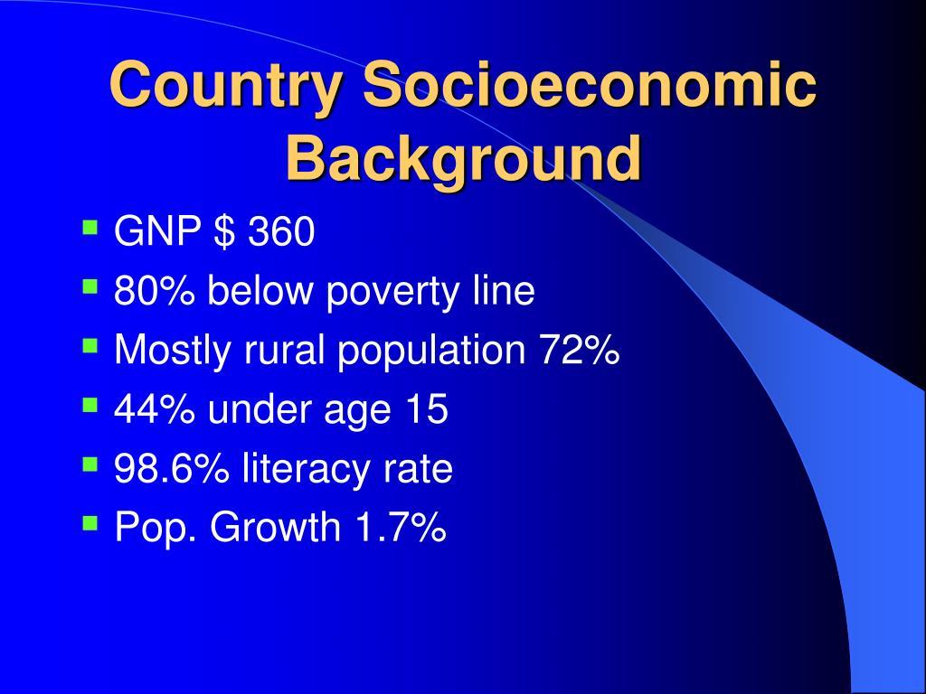 Country Socioeconomic Background