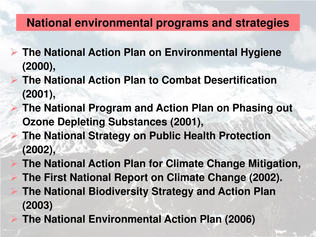 National environmental programs and strategies