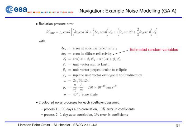 Navigation: Example Noise Modelling (GAIA)