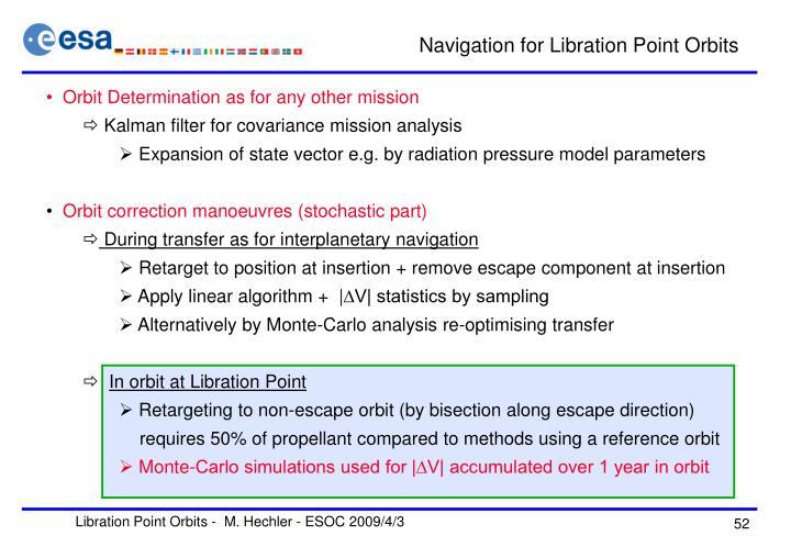 Navigation for Libration Point Orbits