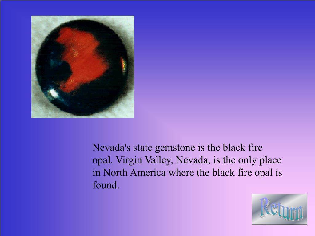 Nevada's state gemstone is the black fire opal. Virgin Valley, Nevada, is the only place in North America where the black fire opal is found.