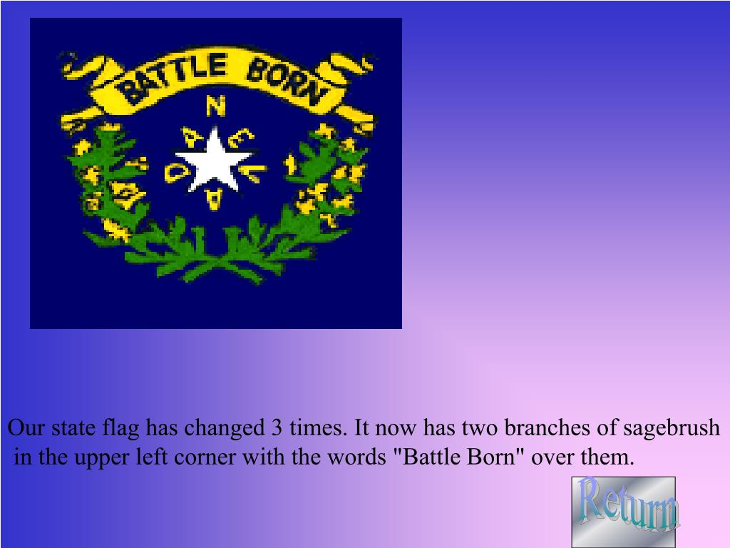Our state flag has changed 3 times. It now has two branches of sagebrush