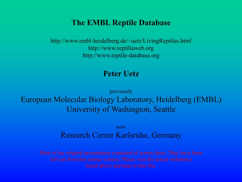 The EMBL Reptile Database