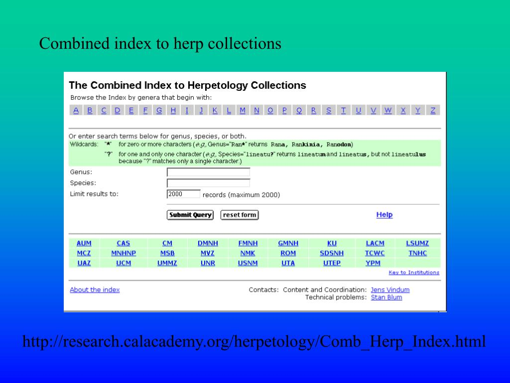 Combined index to herp collections