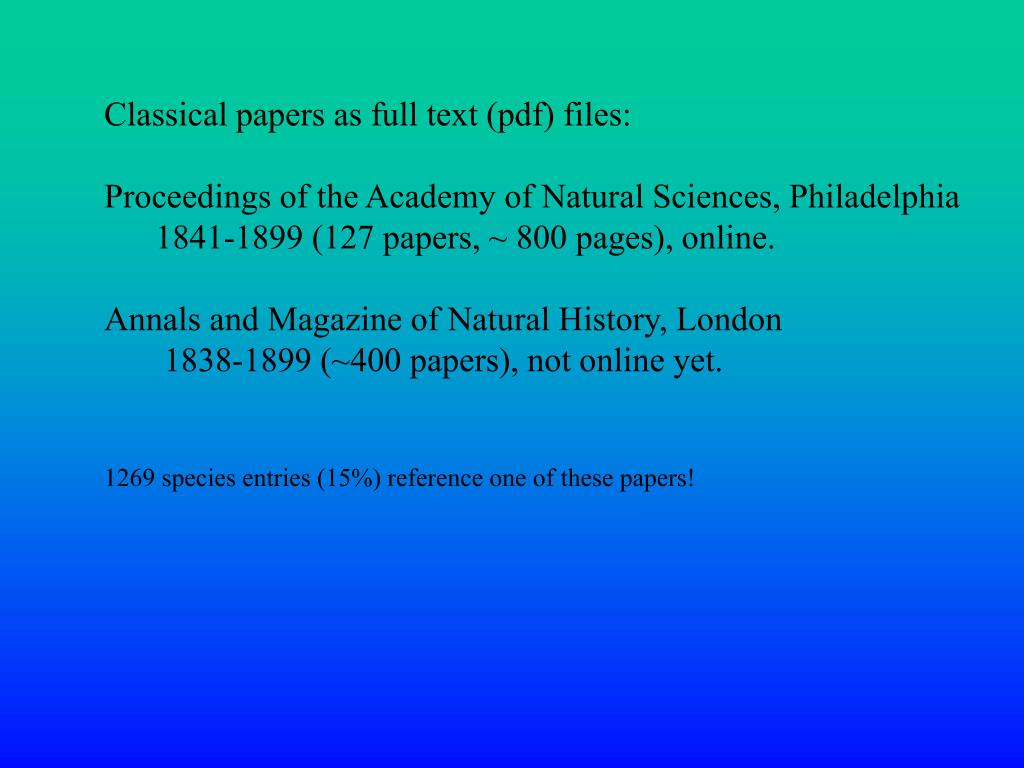 Classical papers as full text (pdf) files: