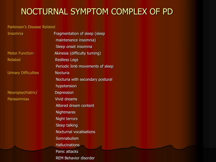 NOCTURNAL SYMPTOM COMPLEX OF PD