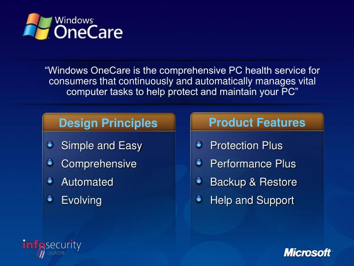 """Windows OneCare is the comprehensive PC health service for consumers that continuously and automatically manages vital computer tasks to help protect and maintain your PC"""