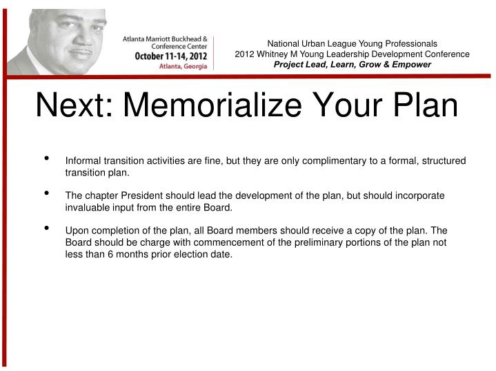 Next: Memorialize Your Plan
