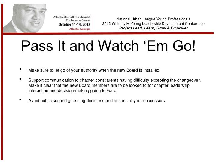 Pass It and Watch 'Em Go!