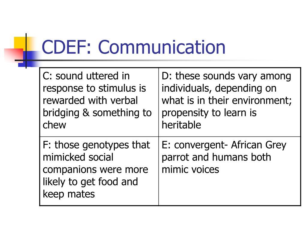 CDEF: Communication