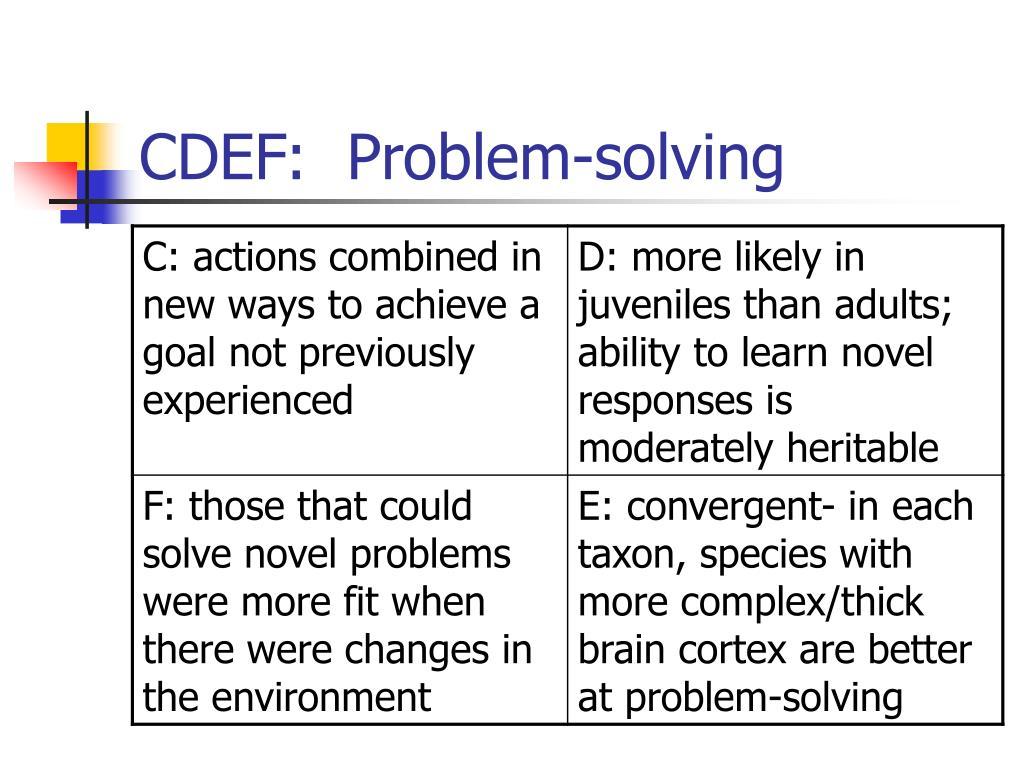 CDEF:  Problem-solving