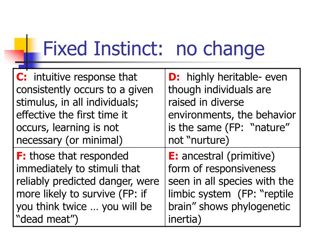Fixed Instinct:  no change
