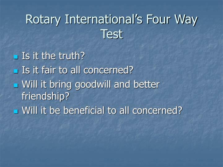 Rotary International's Four Way Test