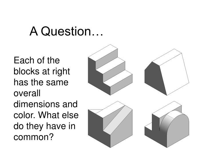 A Question…