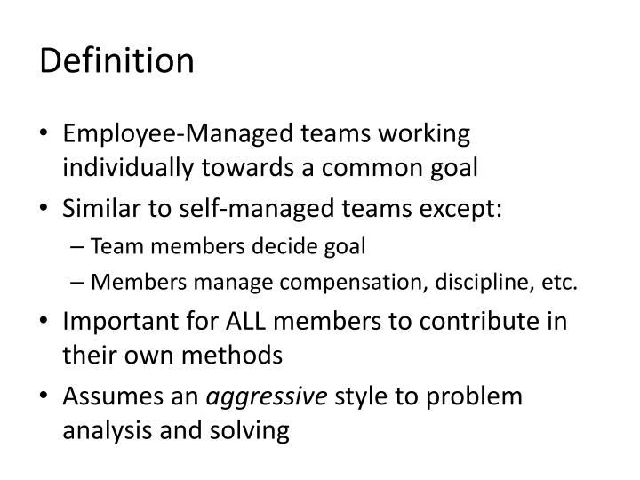 self directed work teams Intro the implementation of self-directed work teams continues to gain momentum as organizations are looking to engage their workforce to maximize their productivity.