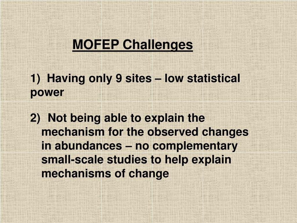 MOFEP Challenges