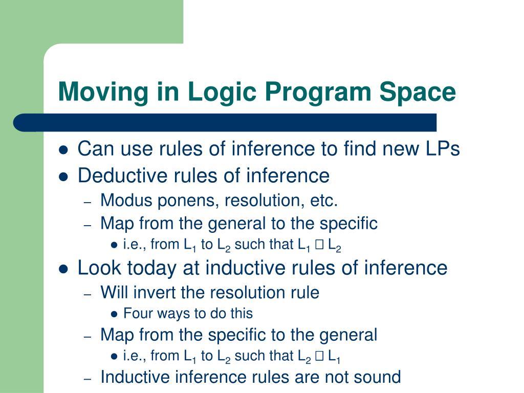 Moving in Logic Program Space