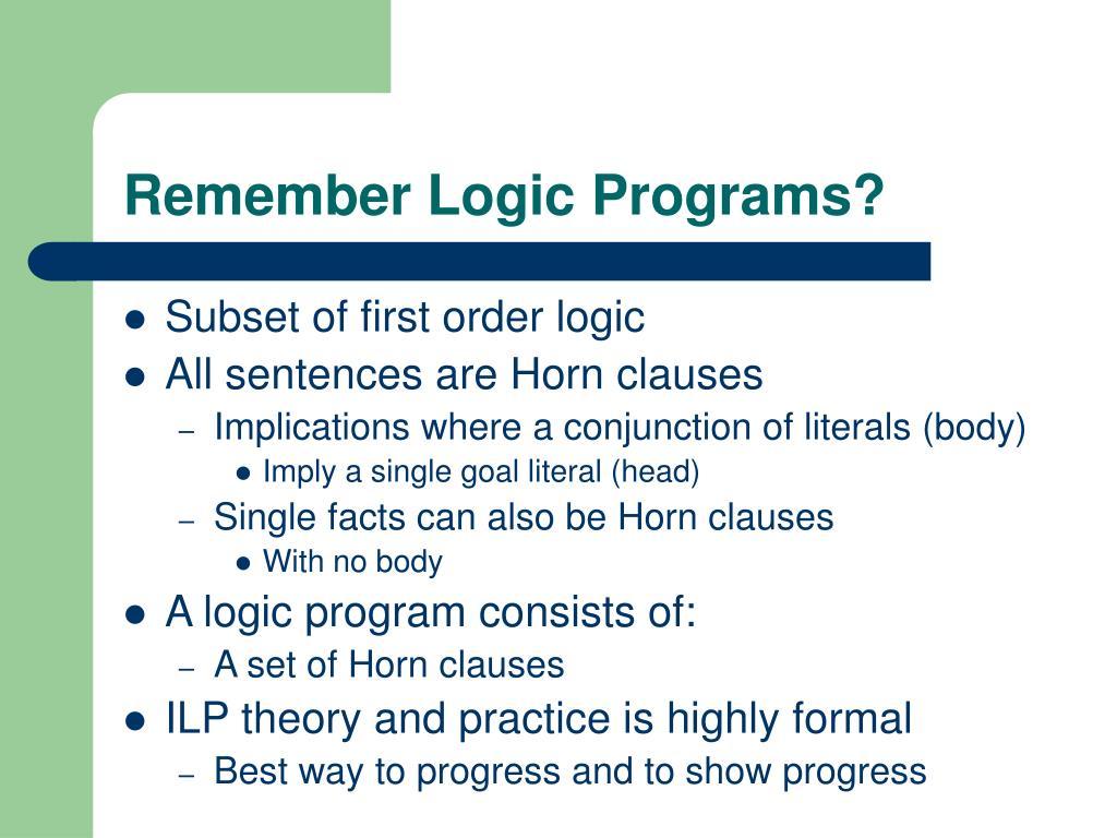 Remember Logic Programs?