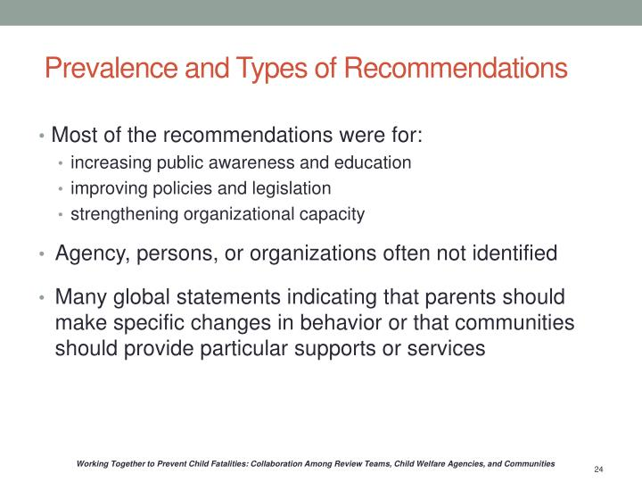 Prevalence and Types of Recommendations