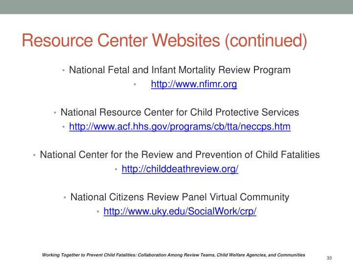 Resource Center Websites (continued)