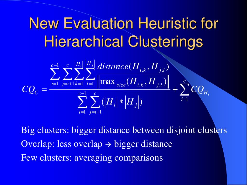 New Evaluation Heuristic for Hierarchical Clusterings