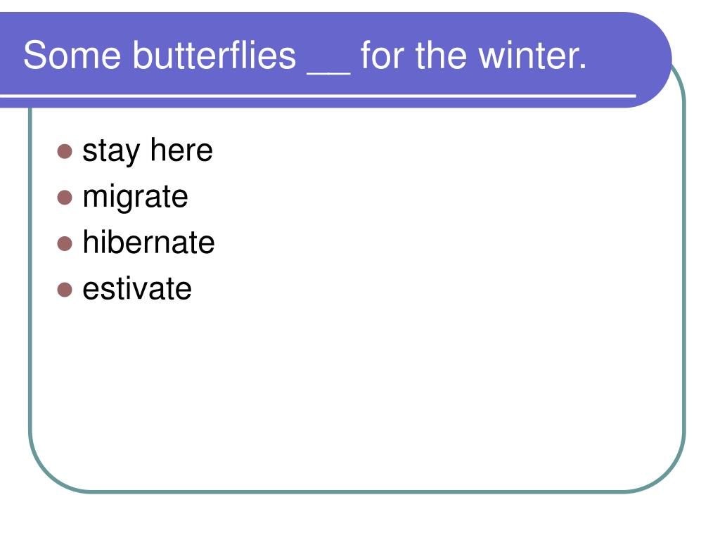 Some butterflies __ for the winter.