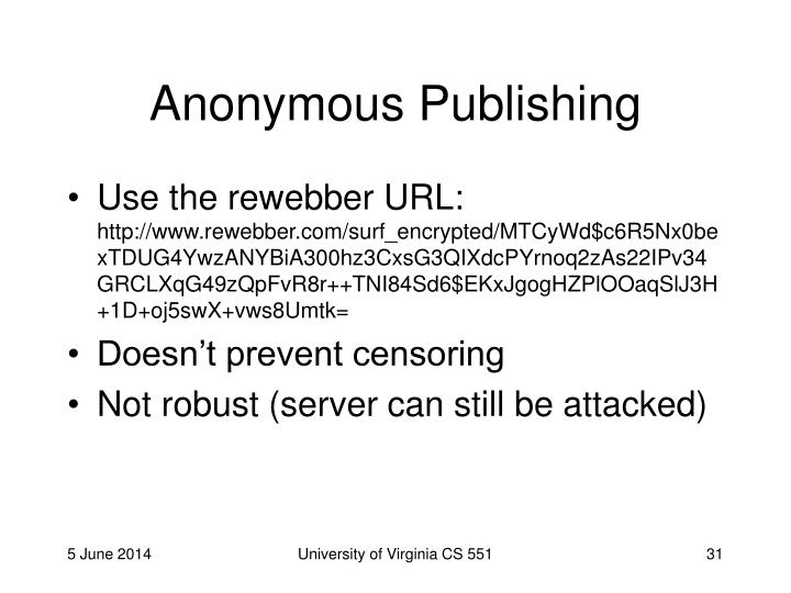 Anonymous Publishing