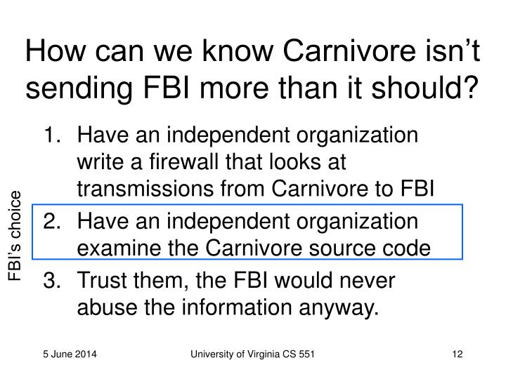 How can we know Carnivore isn't sending FBI more than it should?